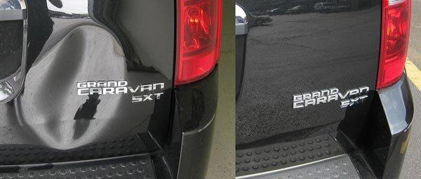 Пример удаления вмятины на багажнике автомобиля